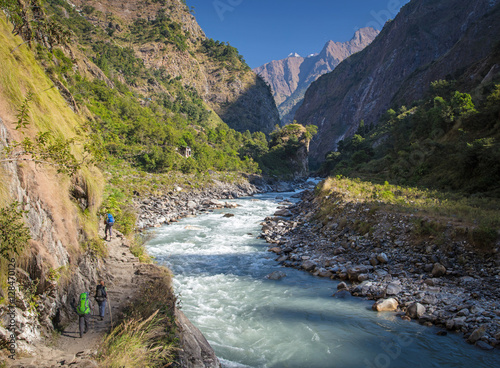 Papiers peints Alpes Hiking in Himalayas mountains. Manaslu circuit trek, Nepal
