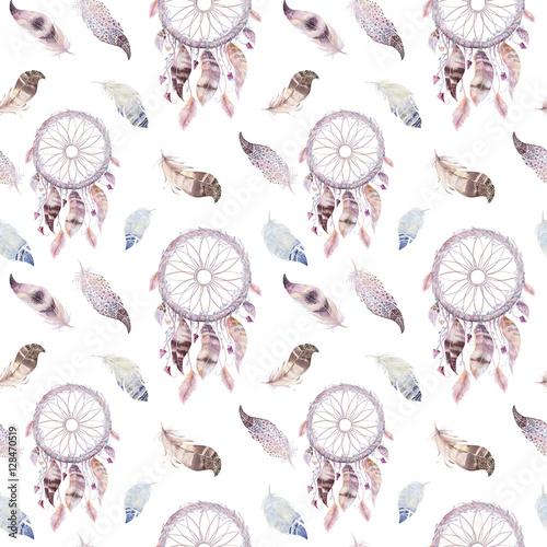 Tapety dekoracyjne  lapacz-snow-i-wzor-pior-akwarela