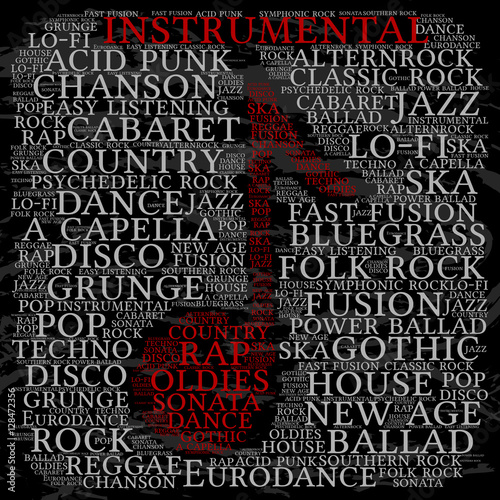 Instrumental Word Cloud Musical Notes Gray Font Grunge
