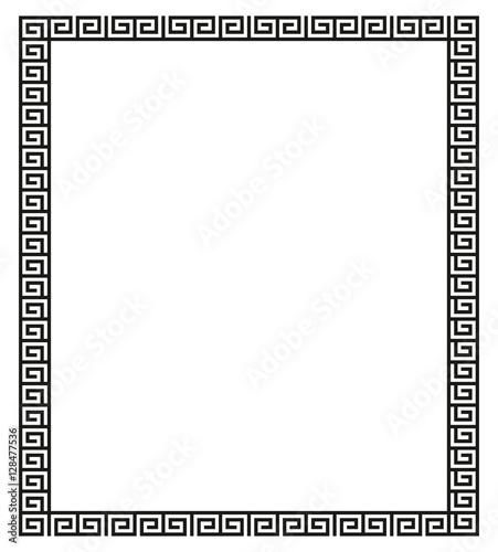 Photo  et of meander borders. Ancient seamless square Greek key frames.
