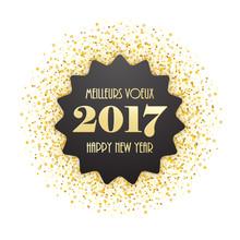 """CARTE BILINGUE """"MEILLEURS VOEUX 2017 HAPPY NEW YEAR"""""""