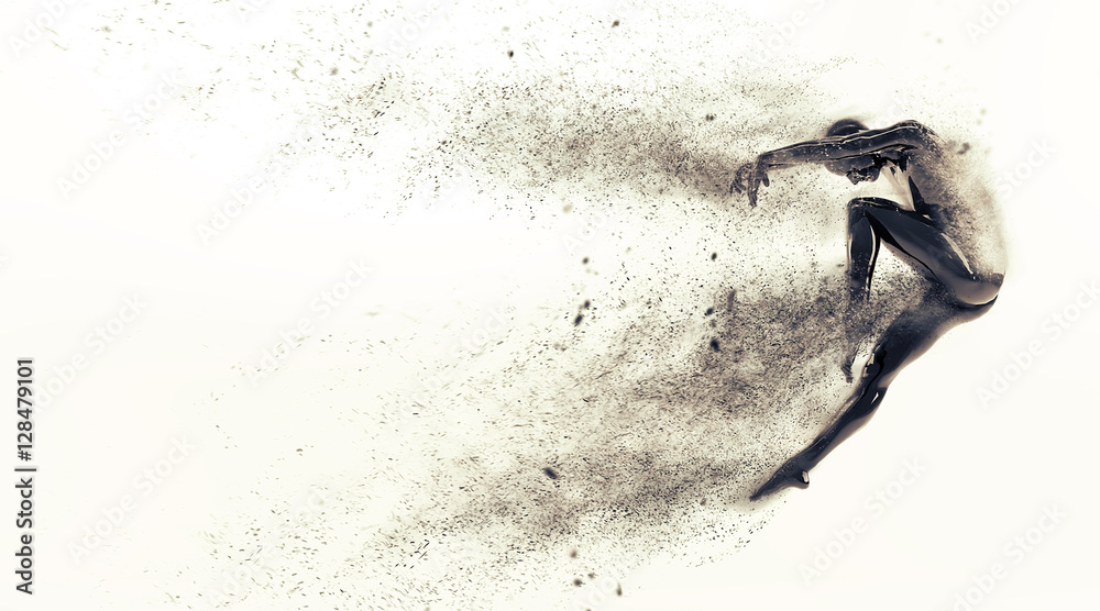 Fototapety, obrazy: Abstract black plastic human body mannequin with scattering particles over white background. Action dance jump ballet pose. 3D rendering illustration