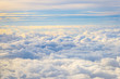 Leinwandbild Motiv Aerial View, Flying Above the Beautiful Clouds in the Sky, Horizontal View