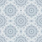 Orientalny bezszwowy wzór. Niebieski kontur kwadratowy etniczny ornament arabski, indyjski, amerykański, marokański, taki jak kolorowanka dla dorosłych, batik, druk na koszulkach. Mandala. Ilustracji wektorowych. - 128479355