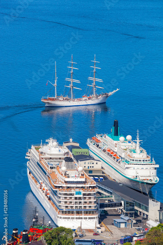 Foto op Aluminium Nacht snelweg Bergen harbor with cruise ships in Norway, UNESCO World Heritage Site