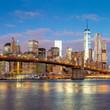 Sunrise view of Brooklyn Bridge and Manhattan skyline, New York