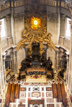 Main Altar In Basilica St Peter In Vatican, Bernini Masterpiece, Rome, Italy