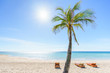 Tropical vacation. Turquoise sea, 3 deckchairs, white sand and palm , sun - very beautiful beach.