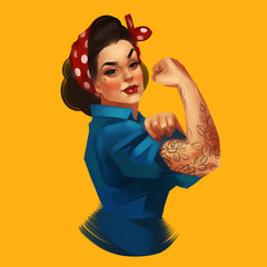 We Can Do It. Iconic woman's fist/symbol of female power and industry. Modern...