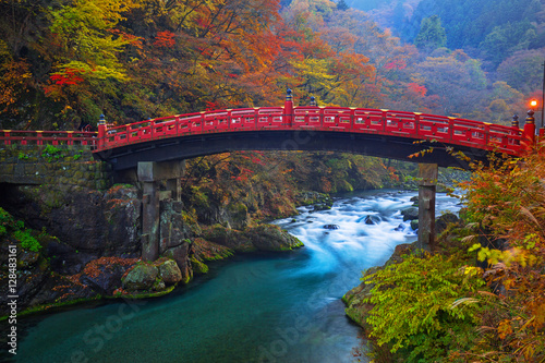 Poster Japan Shinkyo Bridge during autumn in Nikko, Tochigi, Japan