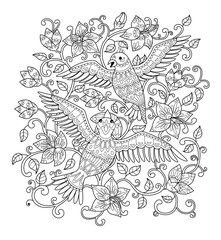 Hand drawn decorative outline bird in the bush flowers. Adult coloring book page. Vertical drawing with ethnic ornament. Vector illustration