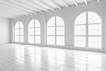 White Room Interior, Open Space Mockup