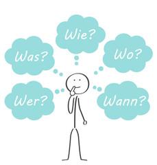 Fünf W-Fragen Strichmännchen denkt nach