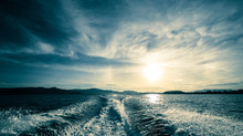 Motor Boat Water Traces In Open Caribbean Sea