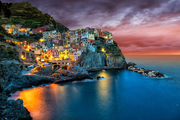 Obraz na Szkle Miasta Beautiful coastal village Manarola, Liguria, Italy.