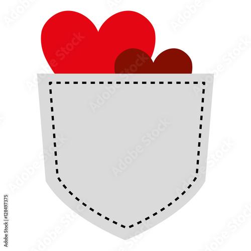 Fotografía  Shirt pocket with hearts vector illustration design