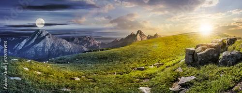 Fototapeta huge stones in valley on top of mountain range obraz
