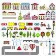 Set of kids city map elements. Vector illustration