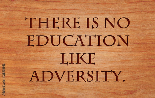 Photo There is no education like adversity - quote on wooden red oak background