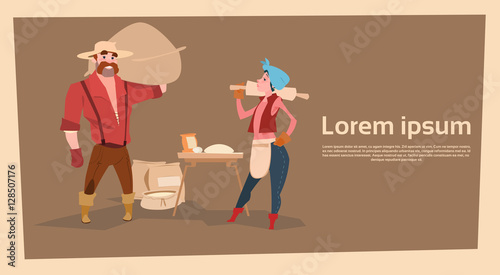 Fotografie, Obraz  Farmer Country Woman And Man Baking Bread Agriculture Business Flat Vector Illus