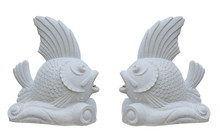 Stone Fish Sculpture Decoration For Fountain Isolated