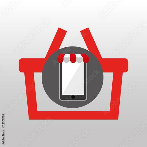 online shopping silhouette red basket design vector illustration eps ... 12d8eab1bbf02