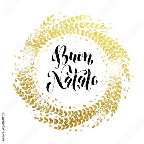 Buon Natale Glitter.Italian Merry Christmas Buon Natale Greeting Card Golden Glitter