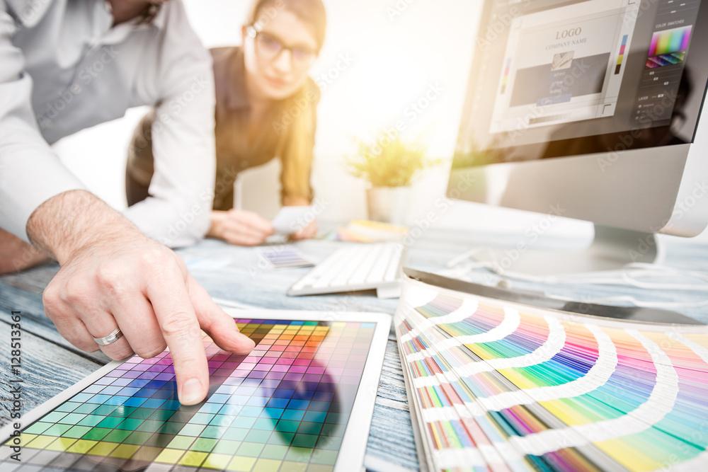 Fototapety, obrazy: Graphic designer at work. Color samples.