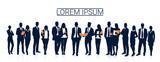 Ludzie biznesu zespół tłum sylwetka biznesmeni Grupa ilustracji wektorowych zasobów ludzkich