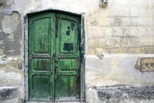 Romantic Old Wooden Green Door