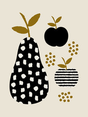 Obraz Modern design with pears and apples in black, cream and ochre.
