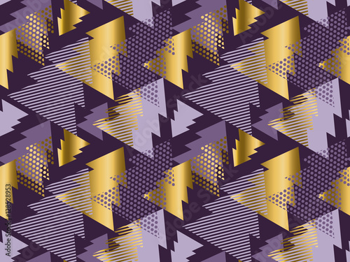 Photo  Christmas tree seamless modern pattern. Rich violet color backgr