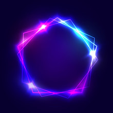 Neon Sign. Pentagon Background With Blank Space For Your Text. Glowing Electric Abstract Frame On Dark Backdrop. Light Banner With Glow. Bright Vector Illustration With Flares And Sparkles.