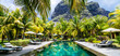 Leinwanddruck Bild - Luxury tropical vacation.Spa swimming pool, Mauritius island