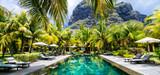 Luxury tropical vacation.Spa swimming pool, Mauritius island