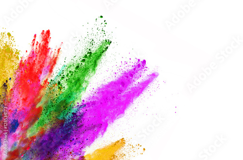 Fotografía  Explosion of colored powder on white background
