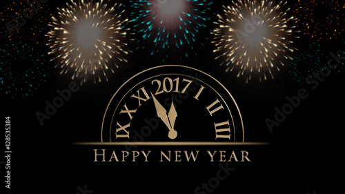 2017 New Years Eve Illustration Card With Clock Colorful Fireworks And Golden Happy