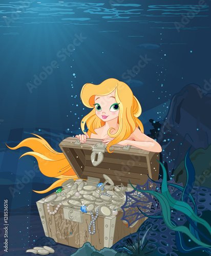 In de dag Sprookjeswereld Cute Mermaid Over a Treasure Chest