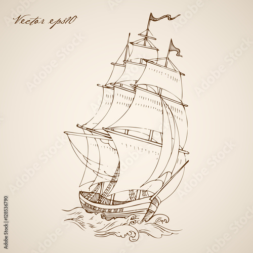 Engraving vintage hand drawn vector frigate. Pencil Sketch ship. Canvas-taulu