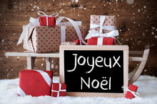 Sleigh With Gifts, Snow, Snowflakes, Joyeux Noel Means Merry Christmas