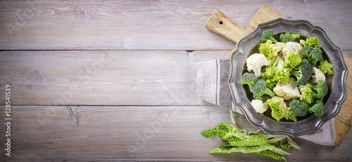 Cauliflower, savoy cabbage, romanesco broccoli and sicilian broccoli