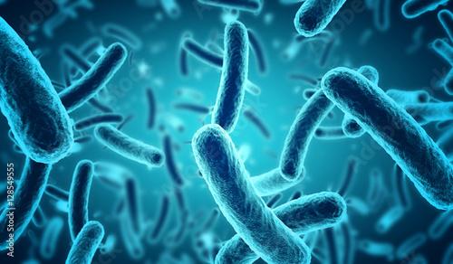 Fotografía  close up of 3d microscopic blue bacteria