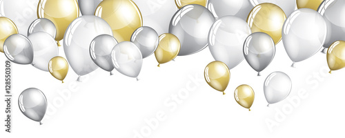 Fotografiet Silver and gold balloons