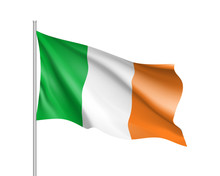 Waving Flag Of Ireland State. ...