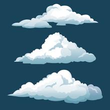 Cartoon Three Blue Sky Clouds Vector Illustration Eps 10