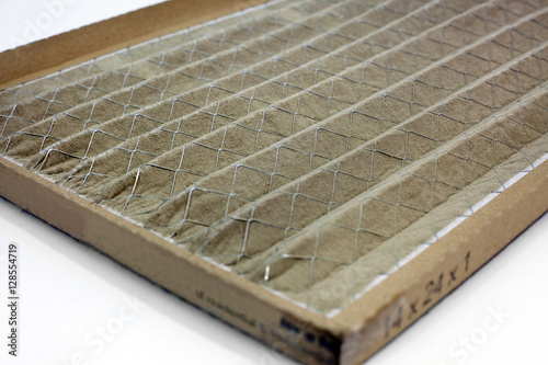 Photo  Dirty home air conditioner filter. Horizontal