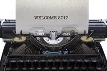 Vintage Typewriter On White Background With Text WELCOME 2017.