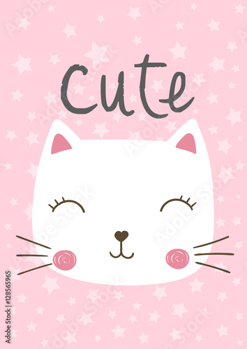 cute cartoon cat, kitten, vector, illustration