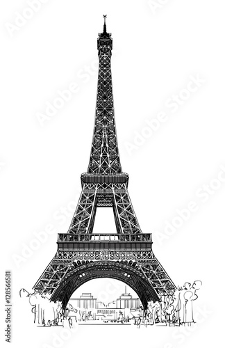 Door stickers Art Studio Eiffel tower isolated, very detailled