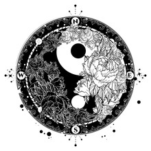 Yin And Yang Tattoo Art Vector. Black And White Roses